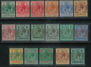 Grenada 1913 SC 79-90,80a,85a,b,c,88a Mint Set