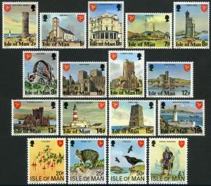Isle of Man 113-129, MI 105B-117B,133-136, MNH. Definitive. Landmarks, 1978