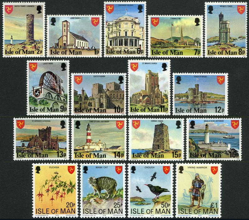 Isle of Man 113-129, MI 105B-117B,133-136, MNH. Definitive. Landmarks, 1978