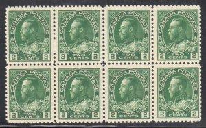 CANADA #107 MINT VF NH Rare Multiple BLOCK OF 8 C$1080.00 - Yellow Green Shade