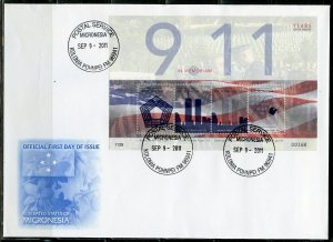 MICRONESIA 2011 10th ANNIVERSARY OF 9.11 SHEET FIRST DAY COVER