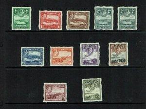 Antigua: 1938 King George VI definitive, set to 5/-, Mint,