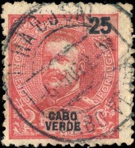 CAP VERT / CABO VERDE - 1908  ILHA DO SAL  cds on Mi.78 25R rose-red