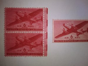 SCOTT # C25 EFO OVER INKED AIR MAIL TWIN TRANSPORT MINT NEVER HINGED GEM !!