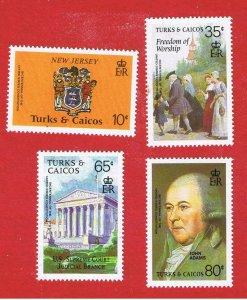 Turks & Caicos Islands #729-732  MVFLH OG  Bicentennial   Free S/H
