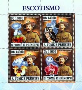 SAO TOME E PRINCIPE 2006 SHEET SCOUTS BADEN POWELL MUSHROOMS OWLS SILVER st6406a