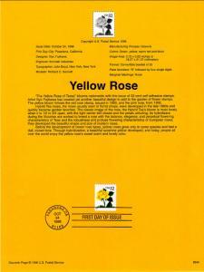 US SP1188 Yellow Rose 3049 Souvenir Page FDC
