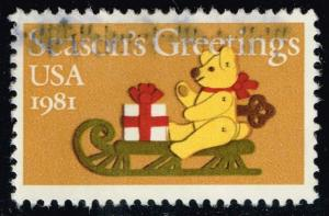 US #1940 Felt Bear on Sleigh; used (0.25)
