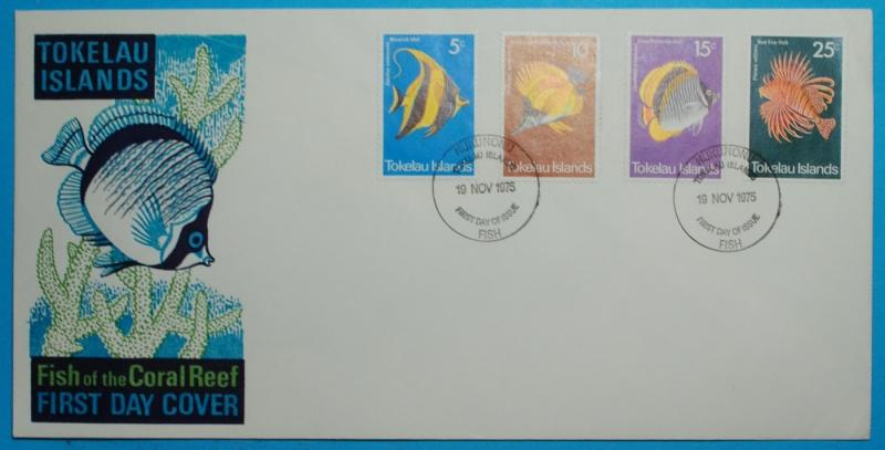 Tokelau Islands  #45-48  FDC Fish of the Coral Reef  8 5/8 x 4 3/8