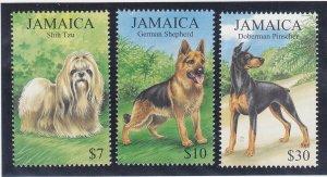 Jamaica 908-10 MNH 1999 Dogs Shih tzu, German Shephard & Doberman Pinscher Set