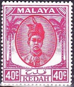 MAYALA KEDAH 1950 40c Red & Purple SG86 MH