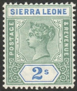 SIERRA LEONE-1896-97 2/- Green & Ultramarine Sg 51 LIGHTLY MOUNTED MINT V46267