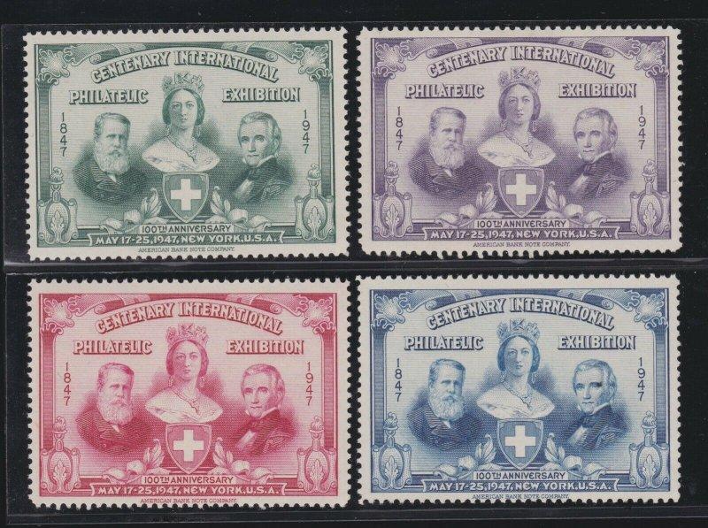 US 1947 4 International Philatelic Exhibition Souvenir Cinderella Stamps Mint OG