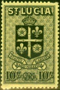 St Lucia 1938 10s Black Yellow SG138 Fine Lightly Mtd Mint