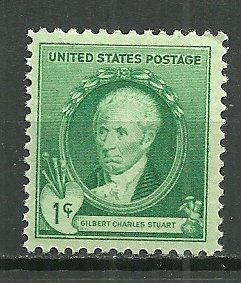 1939  1¢ Painter Gilbert Stuart 884 MNH