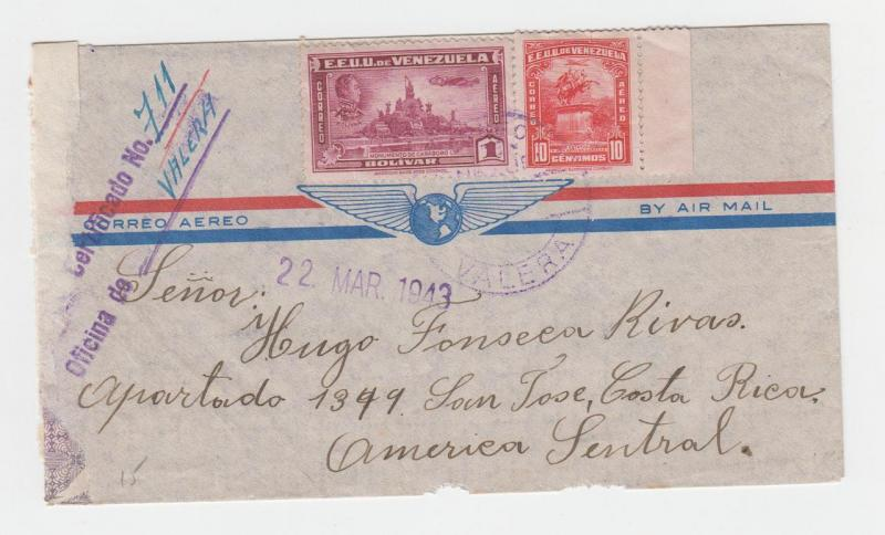 VENEZUELA  TO COSAT RICA 1943 REGISTERED AIRMAIL COVER, VALERA TO SAN JOSE