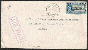 BAHAMAS 1956 10d rate airmail cover Nassau to London.......................73664