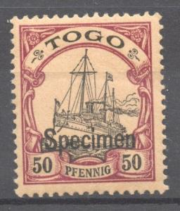 Togo 1900 Yacht 50 Pf. SPECIMEN overprint, mint, hinged
