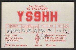 QSL CARD Hutch,Hutchison,YS9HH,83,San Salvador,El Savador(Q4509)