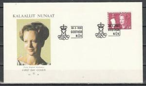 Greenland, Scott cat. 127. Queen & Map of Greenland. First Day Cover.
