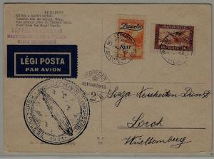 Hungary/Germany Zeppelin card 29.3.31 Budapest
