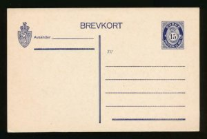 NORWAY Mi. P66 POSTAL STATIONERY POSTAL CARD 15o DARK BLUE