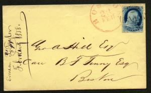 US Scott #22 On Cover Boston MA Feb 23, 1858 Black Circle & Red CDS With CERT