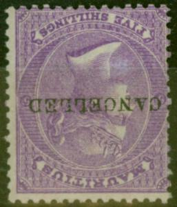 Mauritius 1865 5s Brt Mauve SG72w Wmk Inverted Cancelled Remainder Fine Mtd Mint