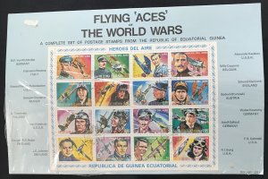 Rep. De Guinea Equatorial Flying Aces Sheet of 16 Used on Cardboard 1974 L35