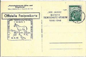 POSTAL HISTORY : postcard AUSTRIA : HORSES DOGS BIRDS DOVES - 1946