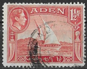 Aden 1-1/2a red Dhow issue of 1939, Scott 19 Used