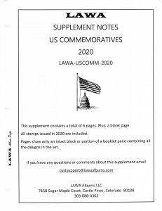 2020 US Commemorative Issue Supplement - LAWA Album Pages