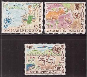 LAOS Scott 233-234, C90 UNICEF, MNH** set 1972