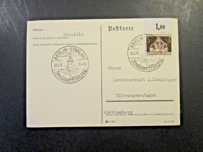 Germany 1936 Berlin - Stralau Event Card w/ Event Cancel - Z4185