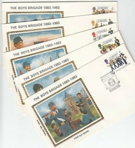 Guernsey, Scott cat. 255-259. Boy`s Brigade. 5 SILK Cachet First Day Covers.