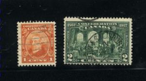 Canada #141, 142  -1  used     PD