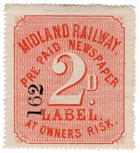 (I.B) Midland Railway : Prepaid Newspaper Parcel 2d