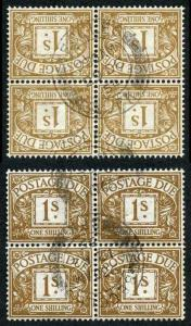 SGD39Wi KGVI 1/- Block of 4 Wmk SIDE-WAYS INVERTED VERY RARE Cat 11600 (as mint)