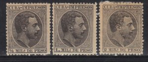 CUBA SC# P1-P3  **MH** 1888  NEWSPAPER STAMPS   SEE SCAN