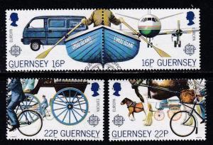 Guernsey # 381-384, Communication, Transportation, Used Set