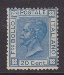 Italy Sc 35 MLH. 1866 20c blue King, fresh, F-VF. RARE