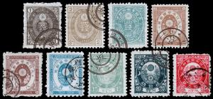 Japan Scott 56-59, 61-62, 64-65, 67 (1876-77) Used F-VF, CV $638.75 D