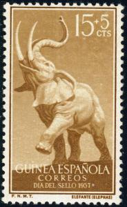 SPANISH GUINEA 1957 Mi.335 15+5c African Elephant (Loxodonta africana) - Mint*