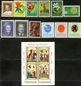 LIECHTENSTEIN Sc#465-477 1970 Six Complete Sets & 1 S/S OG Mint Hinged