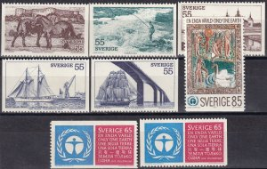 Sweden #928-32, 933-5  F-VF Unused CV $4.30  (Z6232)