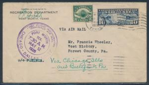 #C4 & #C7 ON 1ST FLT INAUGURAL COVER CHICAGO TO DALLAS 5/12/1926 CAM #3 BR4511