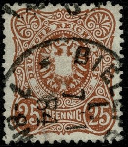 GERMANY 1880-87 25pf DEEP CHESTNUT PFENNIG SG43b USED (VFU)  P.13.5 x 14.5 VF