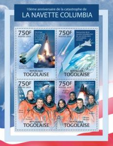 TOGO 2013 SHEET SPACE THE TRAGEDY OF COLUMBIA tg13316a