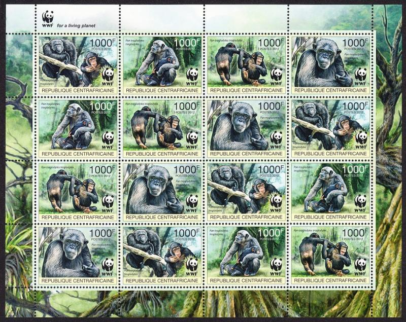 Central African Rep. WWF Central Chimpanzee Sheetlet of 4 sets /16 stamps