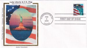 2006, Lady Liberty & Flag, Colorano Silk, FDC (E11867)